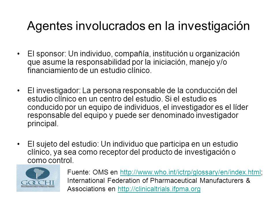 Agentes involucrados en la investigación El sponsor: Un individuo, compañía, institución u organización que asume la responsabilidad por la iniciación, manejo y/o financiamiento de un estudio clínico.
