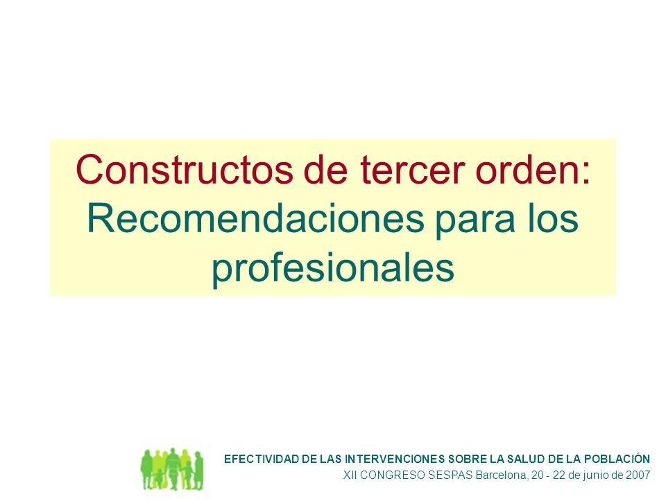 Constructos de tercer orden: Recomendaciones para los profesionales EFECTIVIDAD DE LAS INTERVENCIONES SOBRE LA SALUD DE LA POBLACIÓN XII CONGRESO SESPAS Barcelona, 20 - 22 de junio de 2007