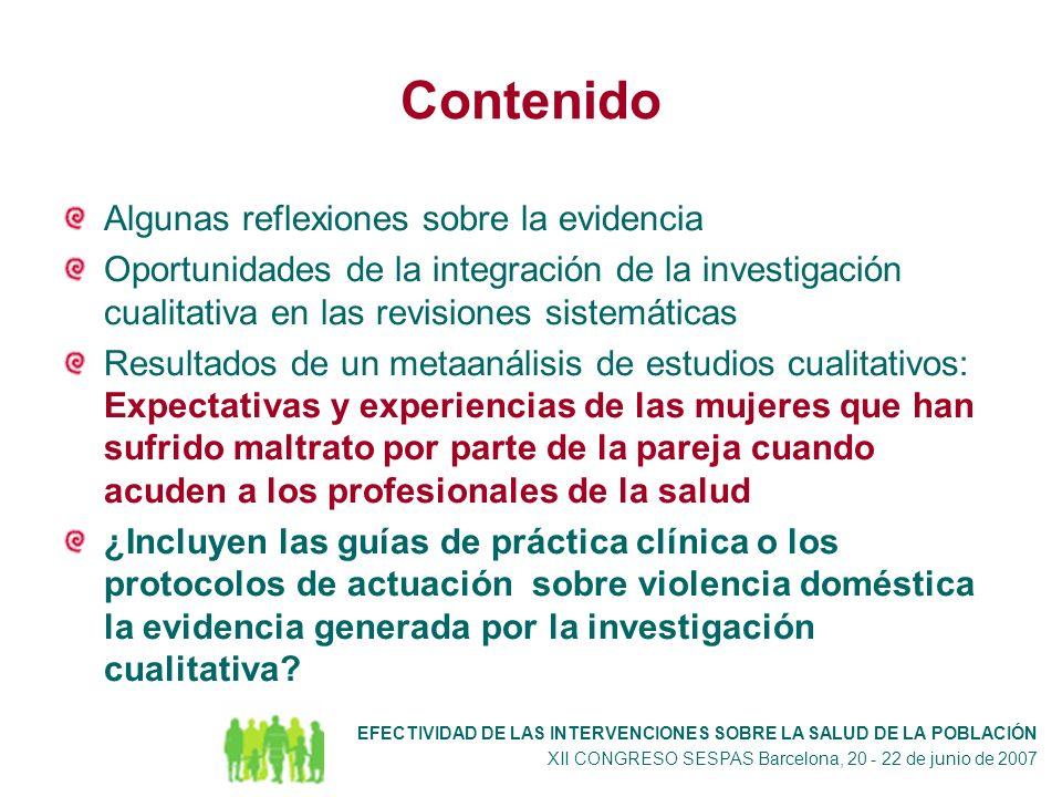 ¿ Las guías de práctica clínica y los protocolos de actuación incluyen la evidencia procedentes de la investigación cualitativa .