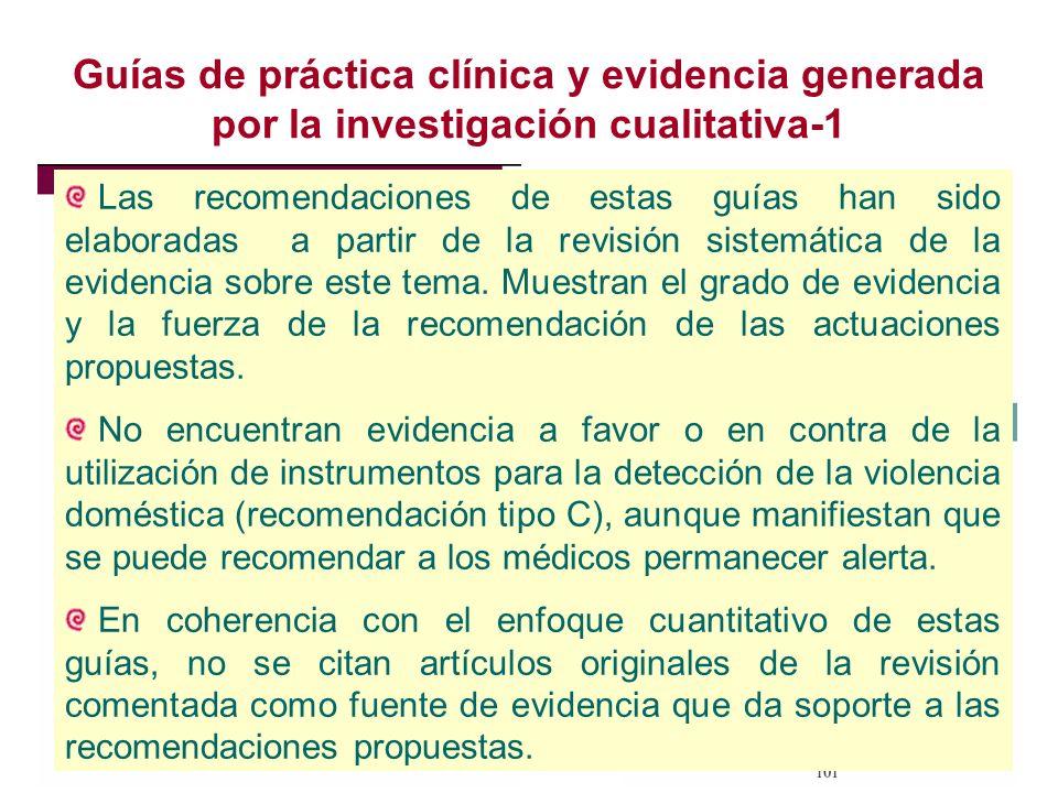 Guías de práctica clínica y evidencia generada por la investigación cualitativa-1 Las recomendaciones de estas guías han sido elaboradas a partir de la revisión sistemática de la evidencia sobre este tema.