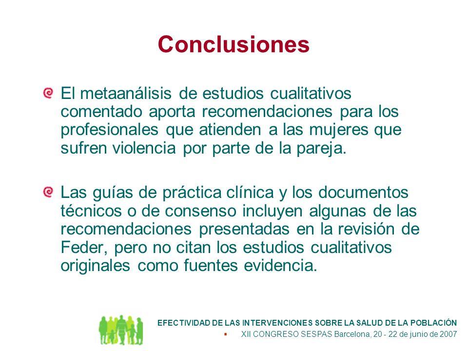 Conclusiones El metaanálisis de estudios cualitativos comentado aporta recomendaciones para los profesionales que atienden a las mujeres que sufren violencia por parte de la pareja.