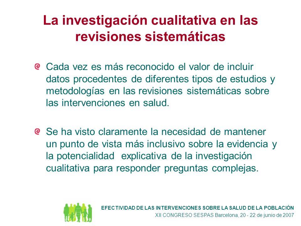 La investigación cualitativa en las revisiones sistemáticas Cada vez es más reconocido el valor de incluir datos procedentes de diferentes tipos de estudios y metodologías en las revisiones sistemáticas sobre las intervenciones en salud.