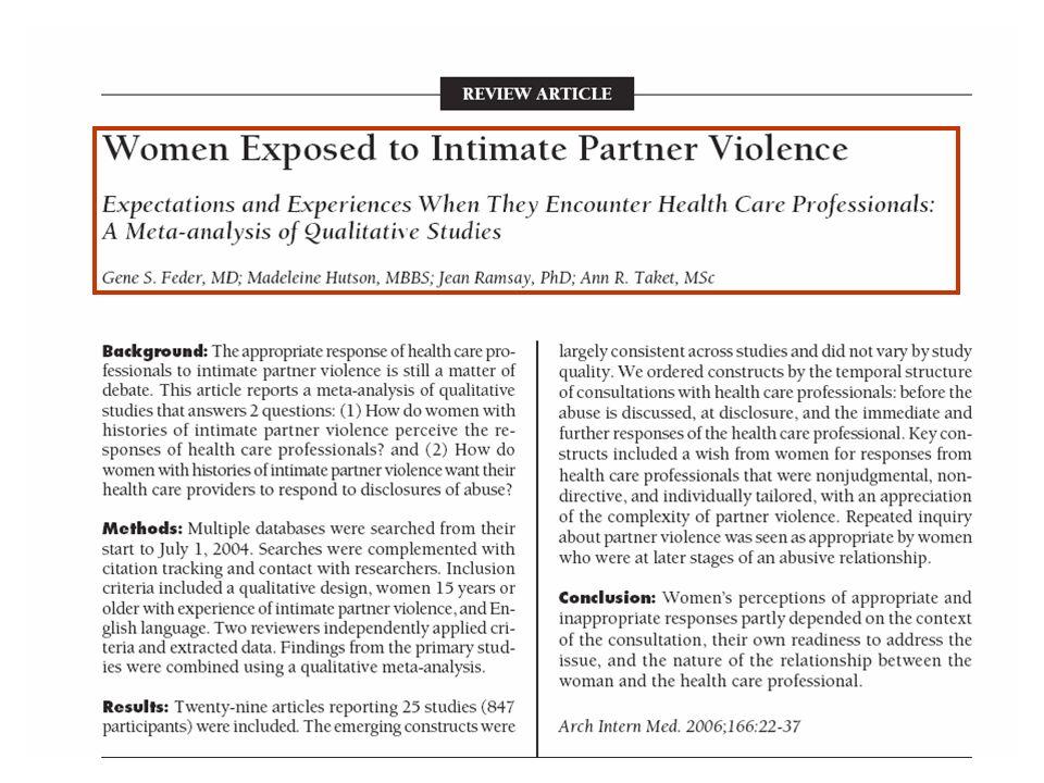 Las preguntas planteadas ¿Cómo perciben las mujeres que han padecido violencia por parte de la pareja la respuesta de los profesionales sanitarios cuando manifiestan la situación de abuso.