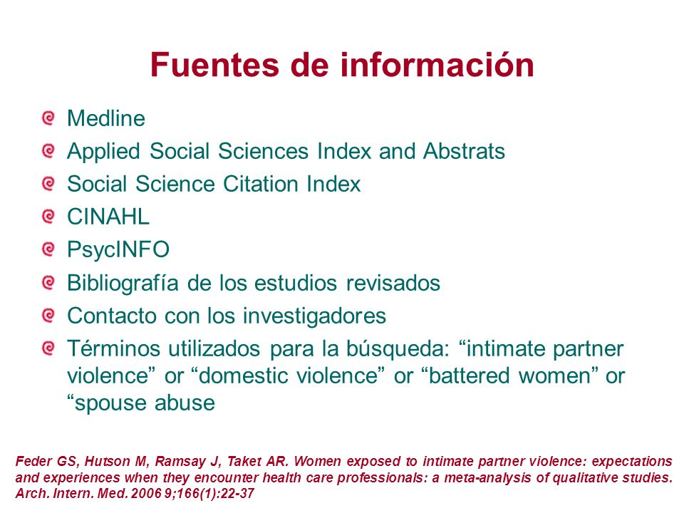 Fuentes de información Medline Applied Social Sciences Index and Abstrats Social Science Citation Index CINAHL PsycINFO Bibliografía de los estudios r