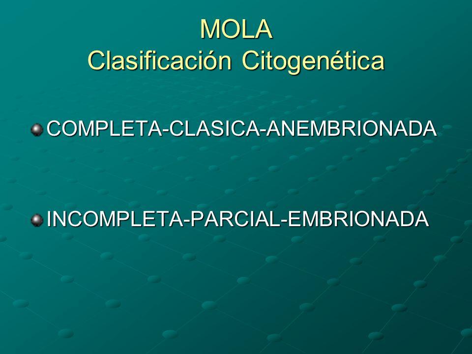 MOLA Clasificación Citogenética COMPLETA-CLASICA-ANEMBRIONADAINCOMPLETA-PARCIAL-EMBRIONADA