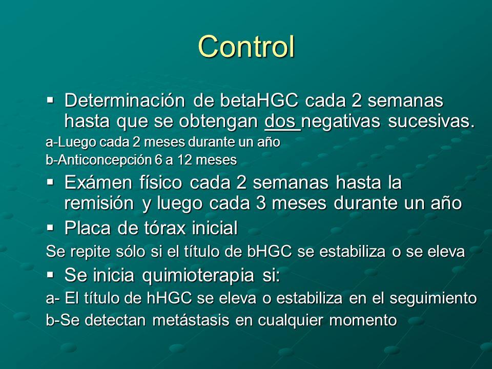 Control Determinación de betaHGC cada 2 semanas hasta que se obtengan dos negativas sucesivas. Determinación de betaHGC cada 2 semanas hasta que se ob