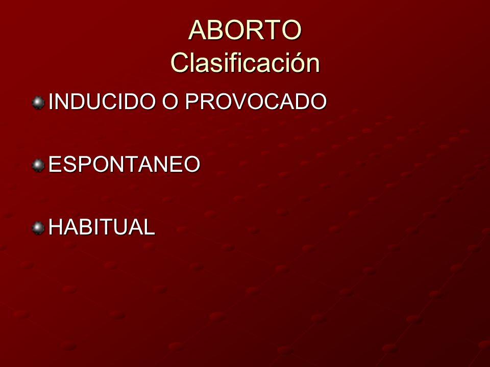 Según su evolución clínica AMENAZA DE ABORTO AMENAZA DE ABORTO ABORTO EN CURSO ABORTO EN CURSO ABORTO INMINENTE ABORTO INMINENTE