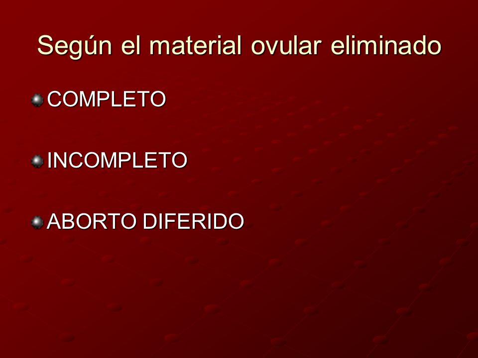 Según el material ovular eliminado COMPLETOINCOMPLETO ABORTO DIFERIDO