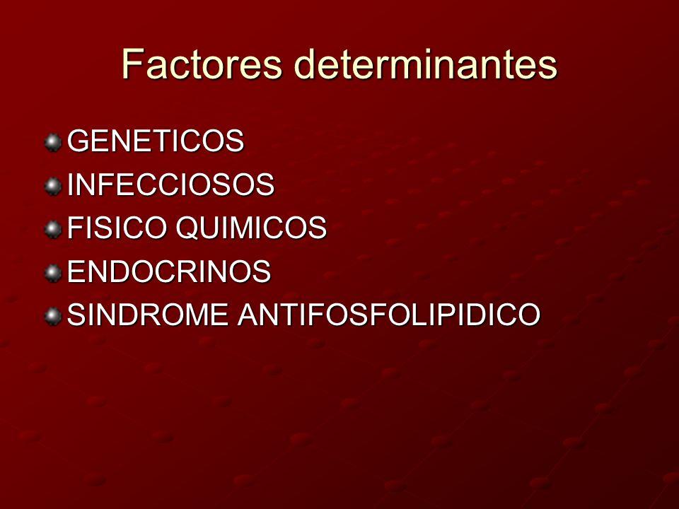 Factores determinantes GENETICOSINFECCIOSOS FISICO QUIMICOS ENDOCRINOS SINDROME ANTIFOSFOLIPIDICO