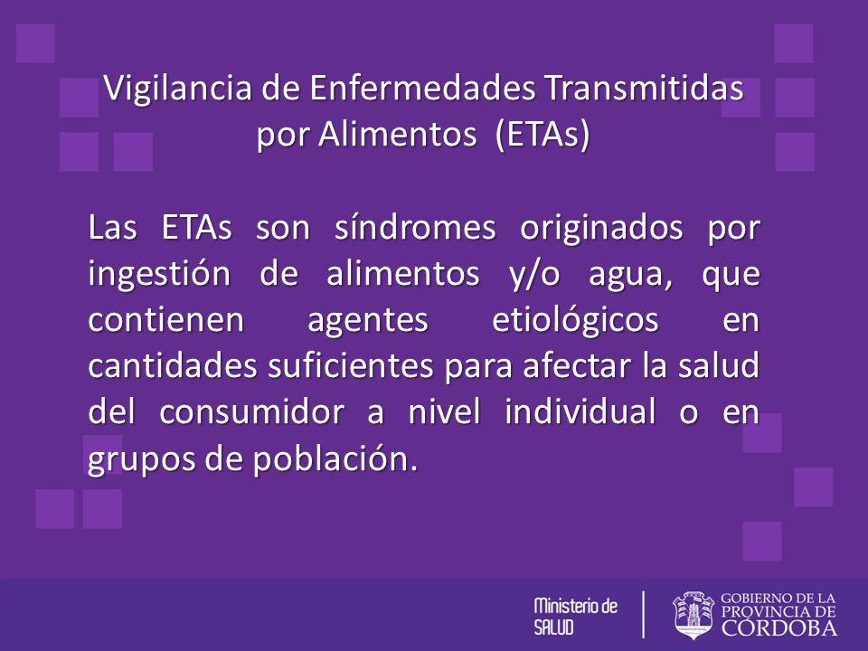Vigilancia de Enfermedades Transmitidas por Alimentos (ETAs) Las ETAs son síndromes originados por ingestión de alimentos y/o agua, que contienen agen
