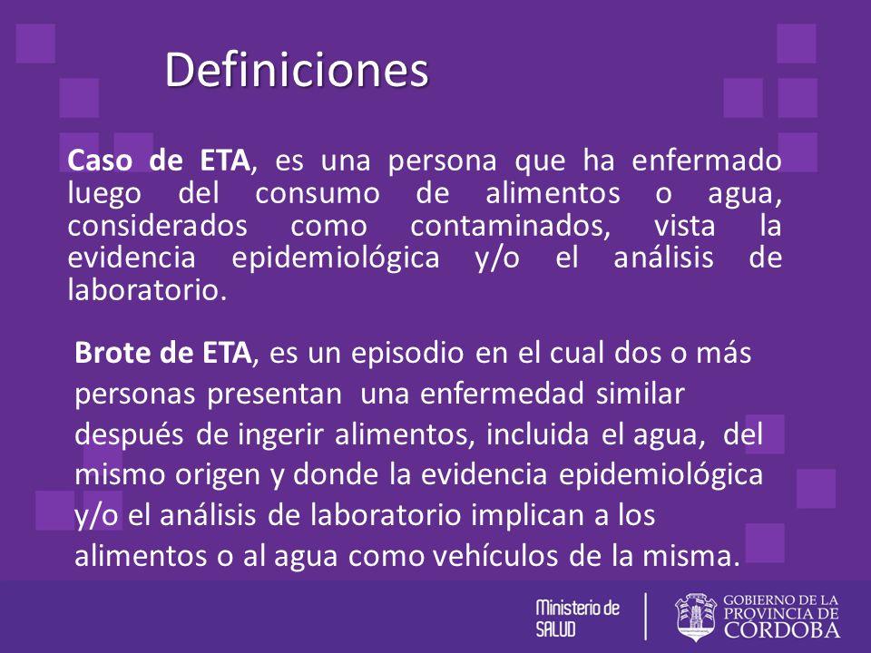 Caso de ETA, es una persona que ha enfermado luego del consumo de alimentos o agua, considerados como contaminados, vista la evidencia epidemiológica