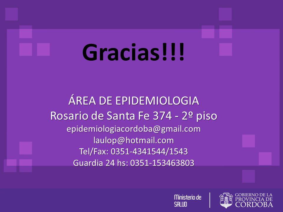 Gracias!!! ÁREA DE EPIDEMIOLOGIA Rosario de Santa Fe 374 - 2º piso epidemiologiacordoba@gmail.comlaulop@hotmail.com Tel/Fax: 0351-4341544/1543 Guardia