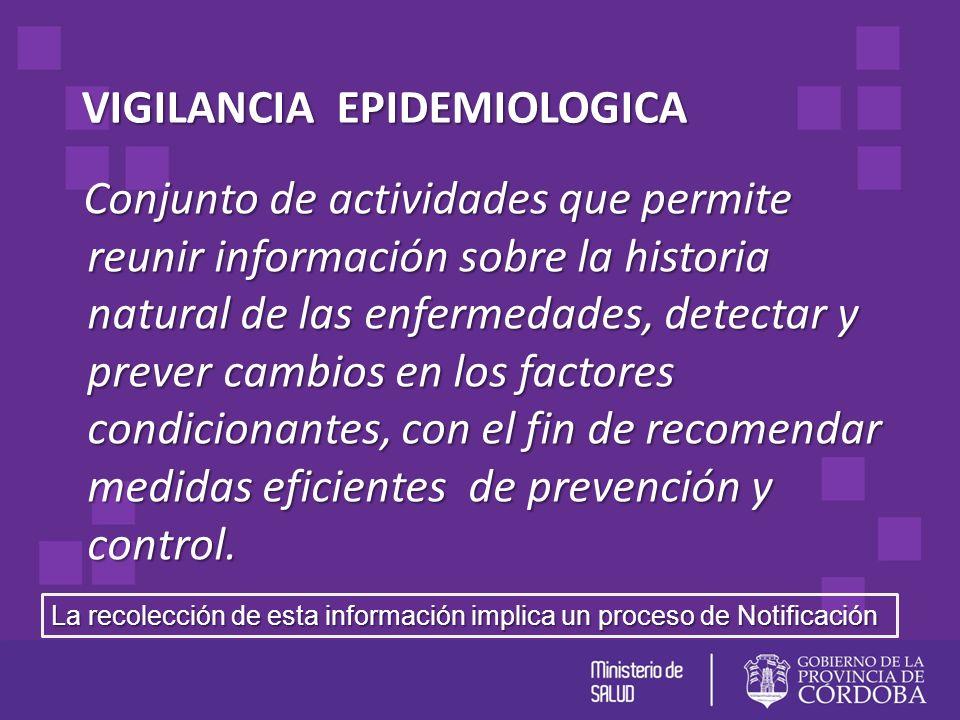 VIGILANCIA EPIDEMIOLOGICA Conjunto de actividades que permite reunir información sobre la historia natural de las enfermedades, detectar y prever camb