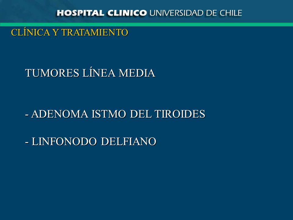TUMORES LÍNEA MEDIA - ADENOMA ISTMO DEL TIROIDES - LINFONODO DELFIANO CLÍNICA Y TRATAMIENTO