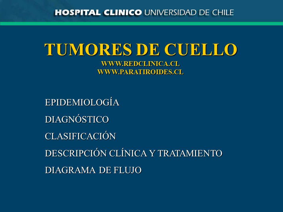 TUMORES DE CUELLO WWW.REDCLINICA.CLWWW.PARATIROIDES.CL EPIDEMIOLOGÍADIAGNÓSTICOCLASIFICACIÓN DESCRIPCIÓN CLÍNICA Y TRATAMIENTO DIAGRAMA DE FLUJO