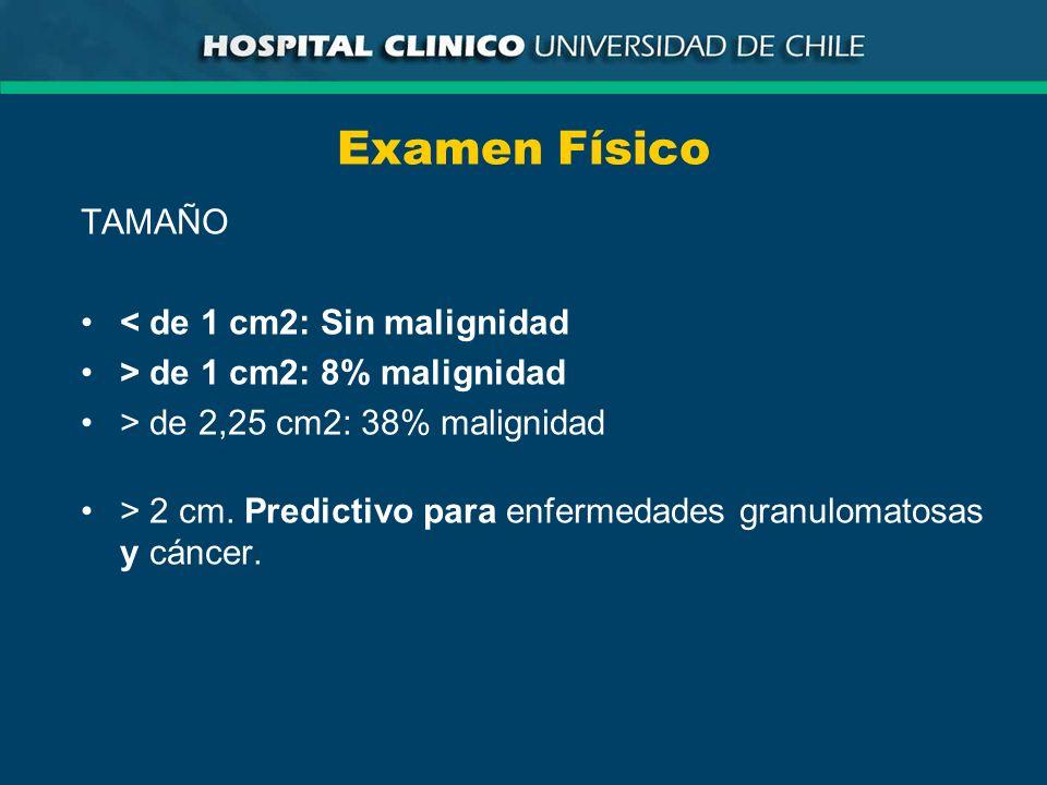 Examen Físico TAMAÑO < de 1 cm2: Sin malignidad > de 1 cm2: 8% malignidad > de 2,25 cm2: 38% malignidad > 2 cm. Predictivo para enfermedades granuloma