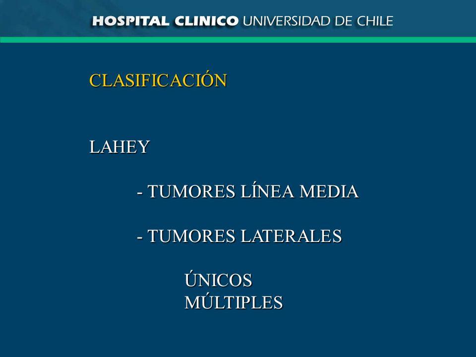 CLASIFICACIÓNLAHEY - TUMORES LÍNEA MEDIA - TUMORES LATERALES ÚNICOSMÚLTIPLES
