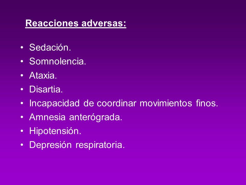 Reacciones adversas: Sedación. Somnolencia. Ataxia. Disartia. Incapacidad de coordinar movimientos finos. Amnesia anterógrada. Hipotensión. Depresión