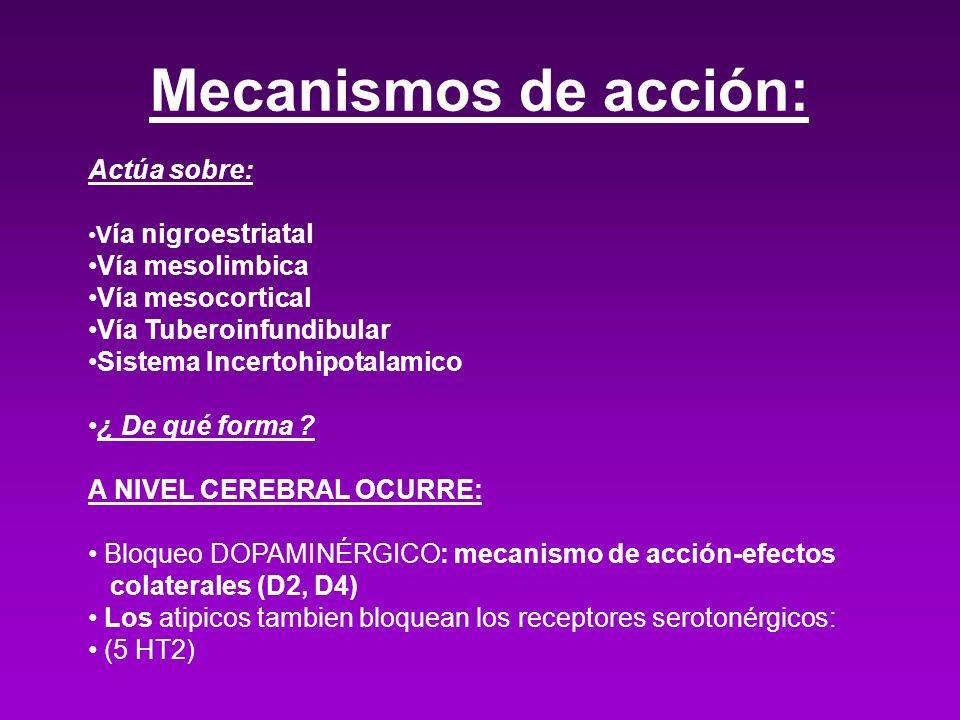 Mecanismos de acción: Actúa sobre: V ía nigroestriatal Vía mesolimbica Vía mesocortical Vía Tuberoinfundibular Sistema Incertohipotalamico ¿ De qué fo