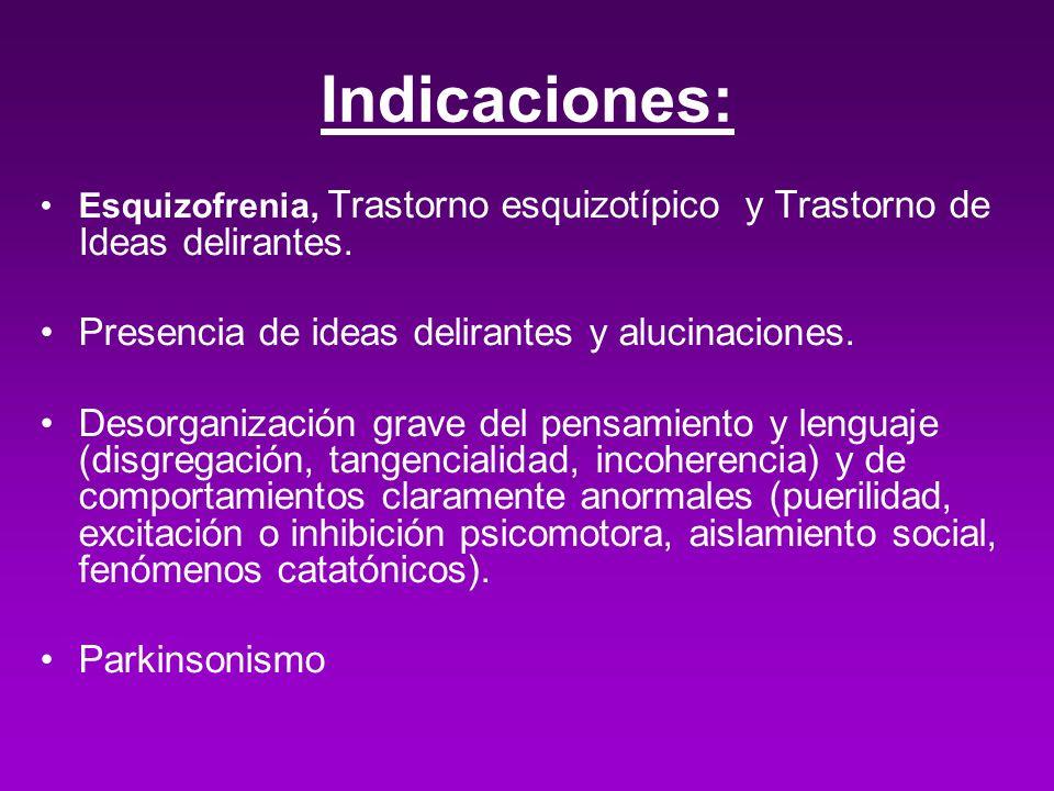 Indicaciones: Esquizofrenia, Trastorno esquizotípico y Trastorno de Ideas delirantes. Presencia de ideas delirantes y alucinaciones. Desorganización g