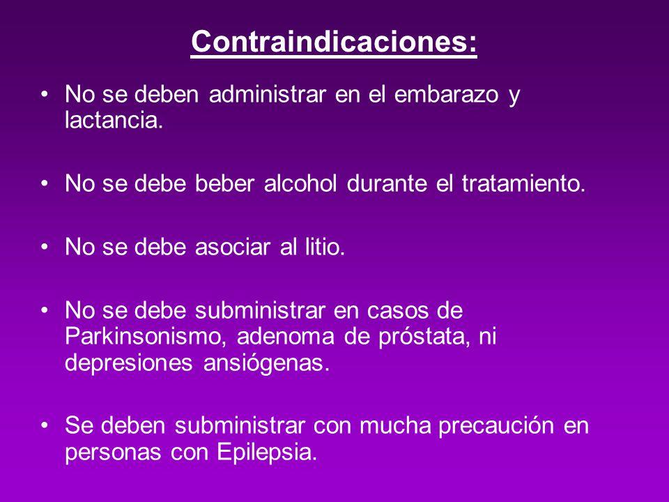 Contraindicaciones: No se deben administrar en el embarazo y lactancia. No se debe beber alcohol durante el tratamiento. No se debe asociar al litio.