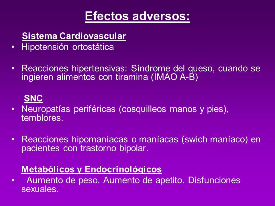 Efectos adversos: Sistema Cardiovascular Hipotensión ortostática Reacciones hipertensivas: Síndrome del queso, cuando se ingieren alimentos con tirami