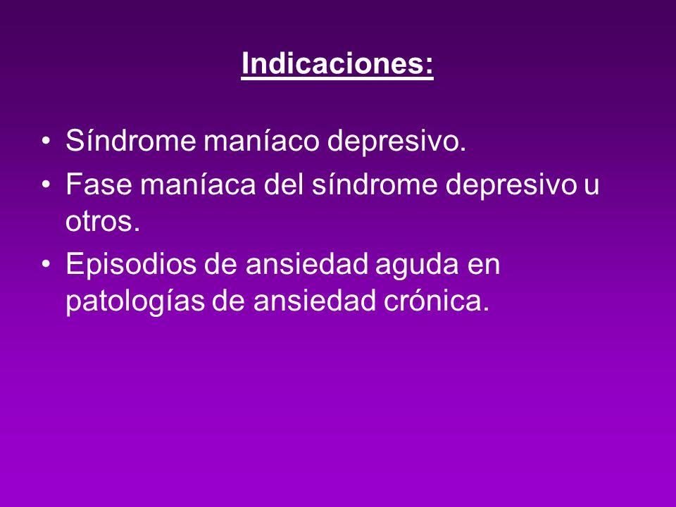 Indicaciones: Síndrome maníaco depresivo. Fase maníaca del síndrome depresivo u otros. Episodios de ansiedad aguda en patologías de ansiedad crónica.