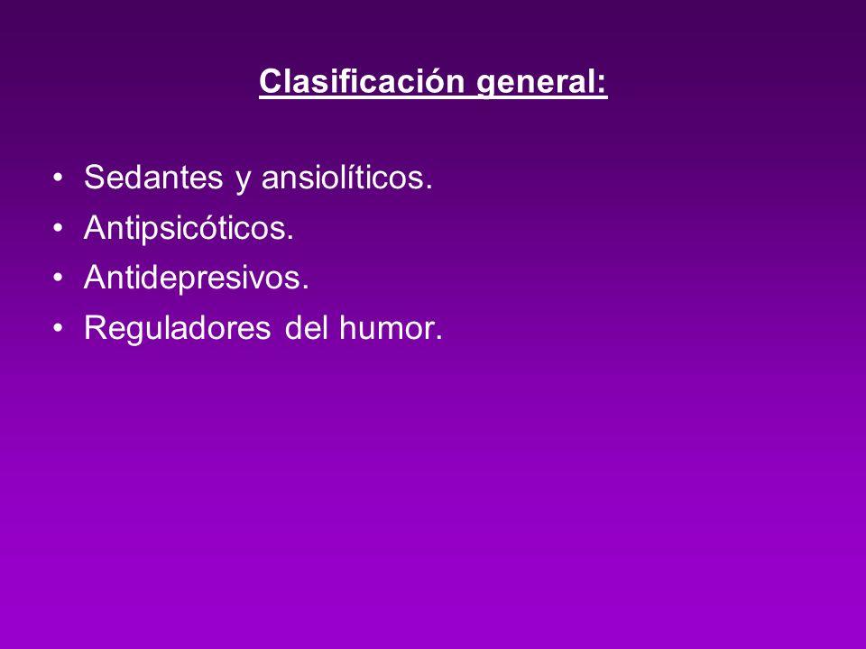 Clasificación general: Sedantes y ansiolíticos. Antipsicóticos. Antidepresivos. Reguladores del humor.