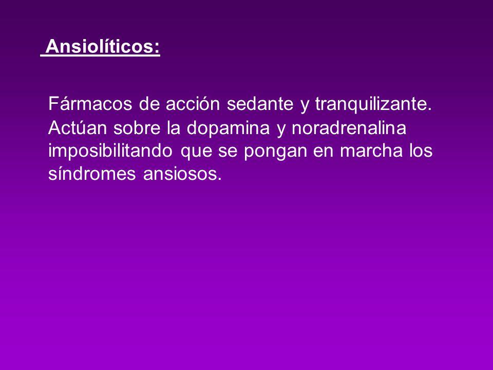Mecanismos de acción: Serotonina: Noradrenalina: