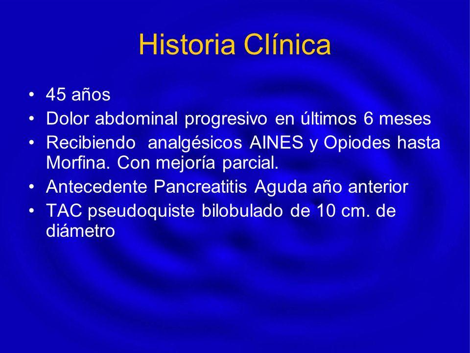 Historia Clínica 45 años Dolor abdominal progresivo en últimos 6 meses Recibiendo analgésicos AINES y Opiodes hasta Morfina. Con mejoría parcial. Ante