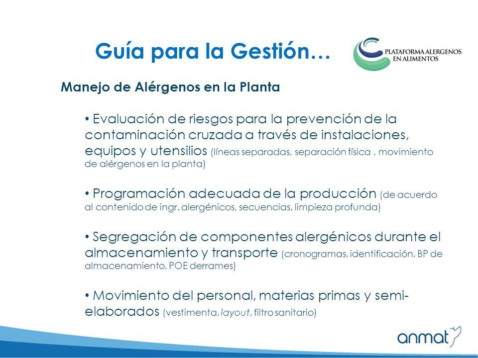 Manejo de Alérgenos en la Planta Evaluación de riesgos para la prevención de la contaminación cruzada a través de instalaciones, equipos y utensilios (líneas separadas, separación física, movimiento de alérgenos en la planta) Programación adecuada de la producción (de acuerdo al contenido de ingr.