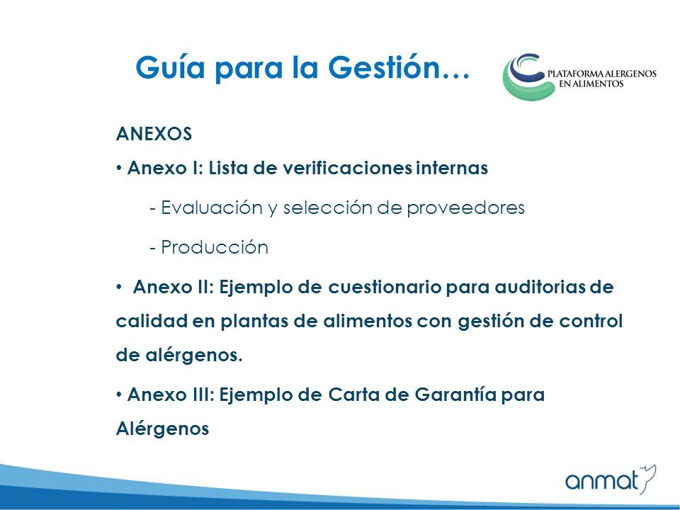ANEXOS Anexo I: Lista de verificaciones internas - Evaluación y selección de proveedores - Producción Anexo II: Ejemplo de cuestionario para auditorias de calidad en plantas de alimentos con gestión de control de alérgenos.