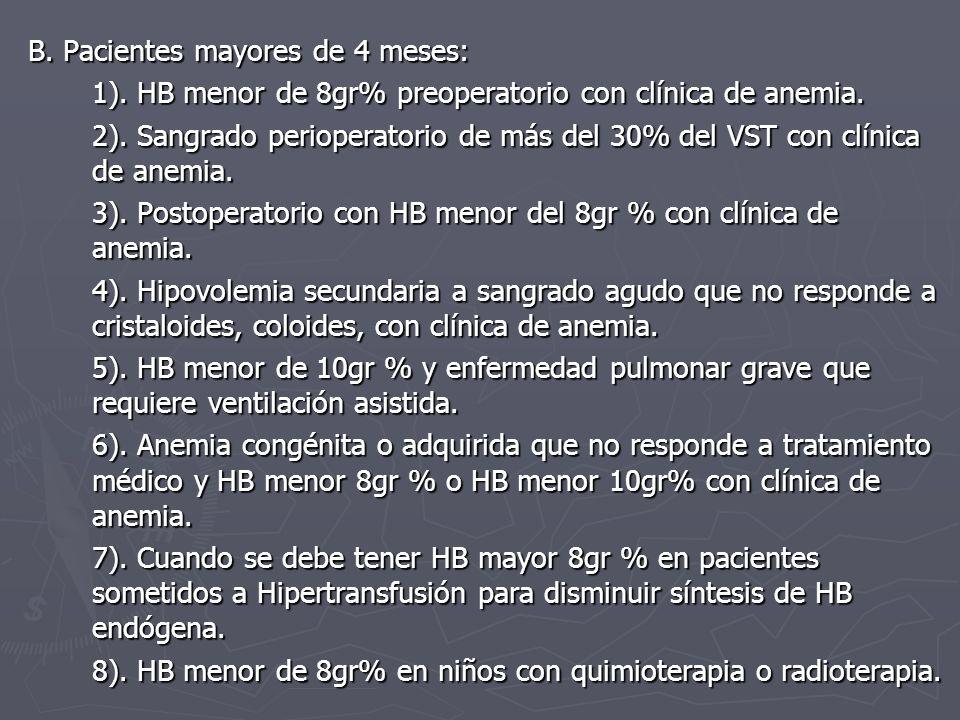 B. Pacientes mayores de 4 meses: 1). HB menor de 8gr% preoperatorio con clínica de anemia. 2). Sangrado perioperatorio de más del 30% del VST con clín