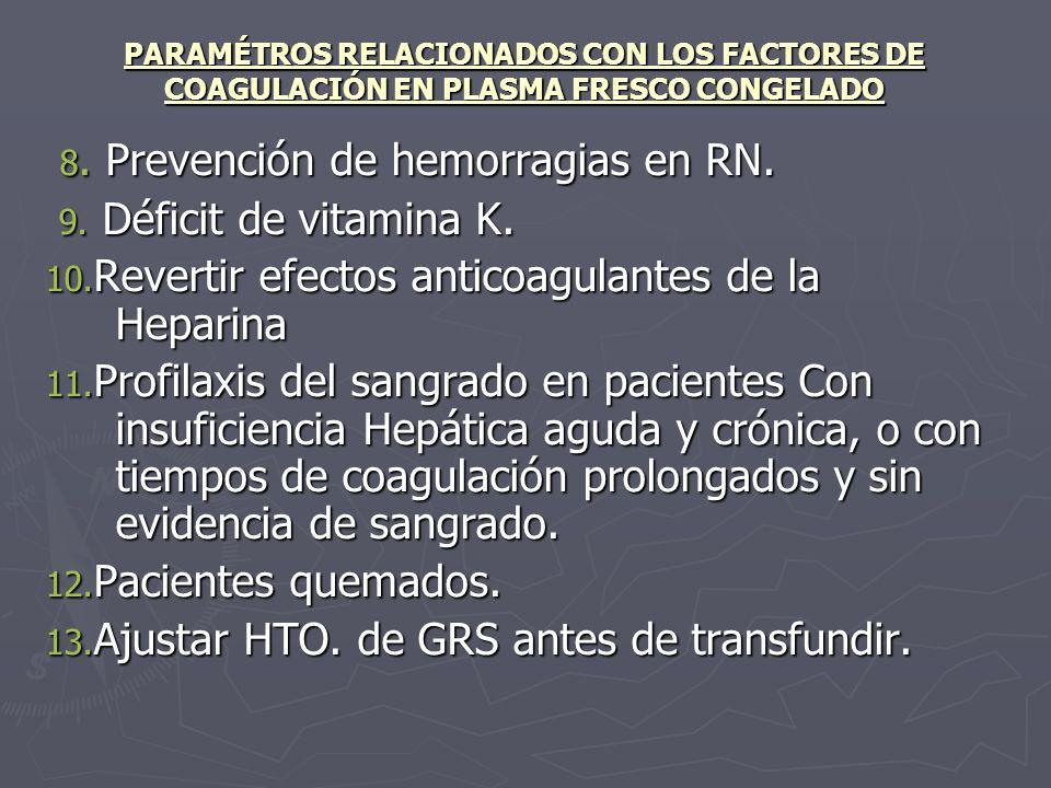 PARAMÉTROS RELACIONADOS CON LOS FACTORES DE COAGULACIÓN EN PLASMA FRESCO CONGELADO 8. Prevención de hemorragias en RN. 8. Prevención de hemorragias en