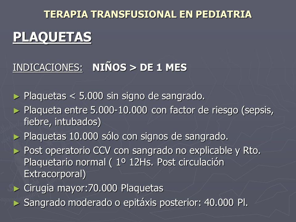 TERAPIA TRANSFUSIONAL EN PEDIATRIA PLAQUETAS INDICACIONES: NIÑOS > DE 1 MES Plaquetas < 5.000 sin signo de sangrado. Plaquetas < 5.000 sin signo de sa
