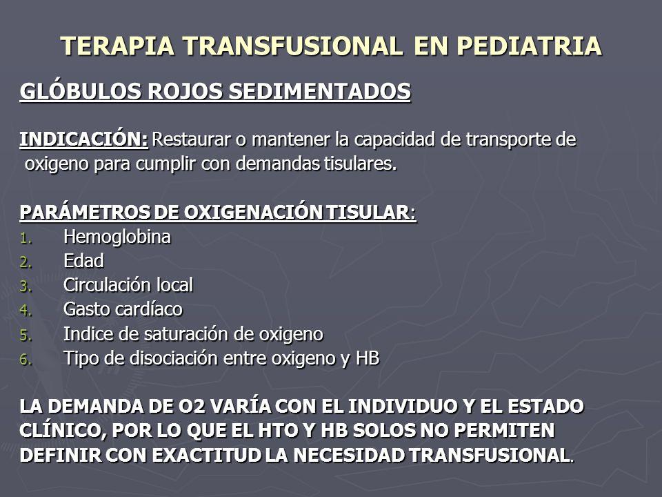 TERAPIA TRANSFUSIONAL EN PEDIATRIA En la anemia la transfusión está indicada para prevenir o revertir la hipoxia debida a la disminución de la masa eritrositaria, o para suprimir la producción endógena de HB anormal (Talasemia).