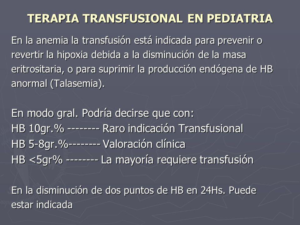 TERAPIA TRANSFUSIONAL EN PEDIATRIA En la anemia la transfusión está indicada para prevenir o revertir la hipoxia debida a la disminución de la masa er
