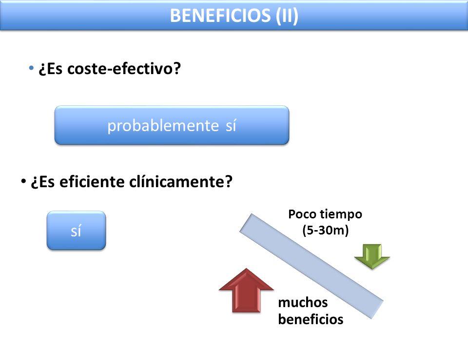 BENEFICIOS (II) ¿Es coste-efectivo? probablemente sí ¿Es eficiente clínicamente? sí Poco tiempo (5-30m) muchos beneficios