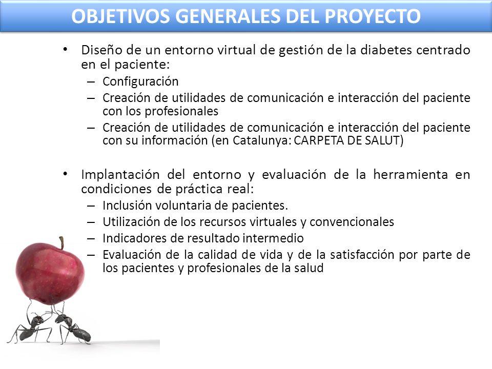 OBJETIVOS GENERALES DEL PROYECTO Diseño de un entorno virtual de gestión de la diabetes centrado en el paciente: – Configuración – Creación de utilida