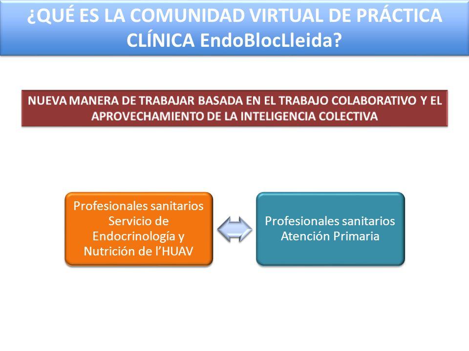 Profesionales sanitarios Servicio de Endocrinología y Nutrición de lHUAV Profesionales sanitarios Atención Primaria ¿QUÉ ES LA COMUNIDAD VIRTUAL DE PR
