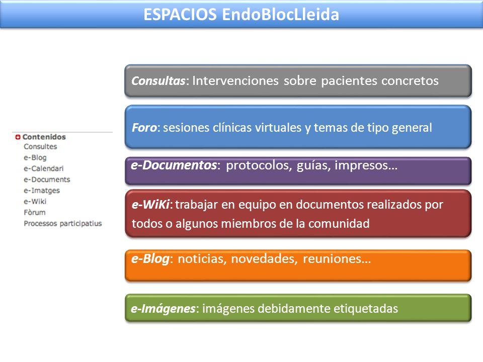 Consultas : Intervenciones sobre pacientes concretos e-Blog: noticias, novedades, reuniones… e-Documentos: protocolos, guías, impresos… e-Imágenes: im
