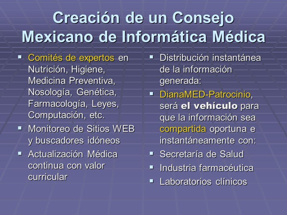 Creación de un Consejo Mexicano de Informática Médica Comités de expertos en Nutrición, Higiene, Medicina Preventiva, Nosología, Genética, Farmacología, Leyes, Computación, etc.