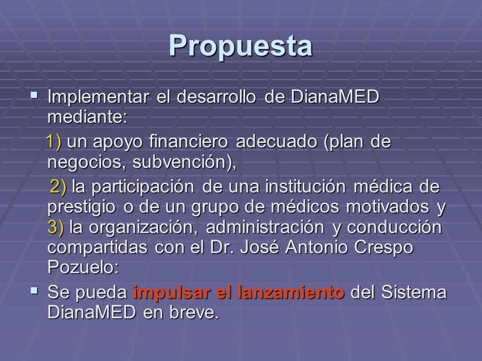 Propuesta Implementar el desarrollo de DianaMED mediante: Implementar el desarrollo de DianaMED mediante: 1) un apoyo financiero adecuado (plan de negocios, subvención), 1) un apoyo financiero adecuado (plan de negocios, subvención), 2) la participación de una institución médica de prestigio o de un grupo de médicos motivados y 3) la organización, administración y conducción compartidas con el Dr.
