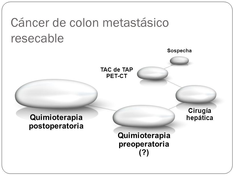 Cáncer de colon metastásico resecable Quimioterapia preoperatoria (?) Sospecha TAC de TAP PET-CT Quimioterapia postoperatoria Cirugía hepática