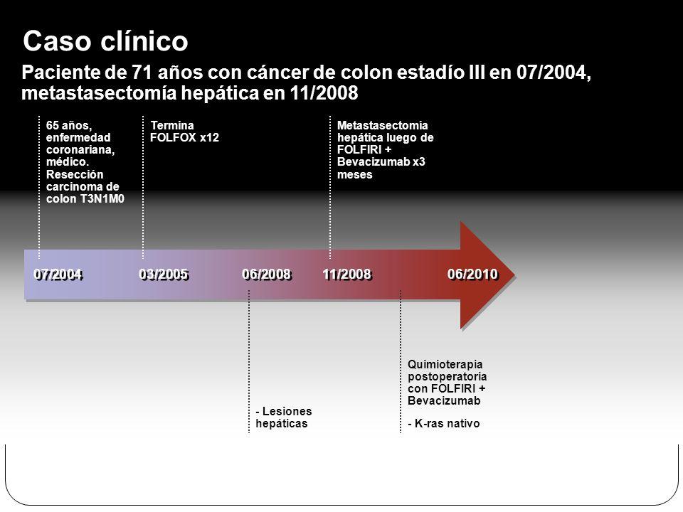 65 años, enfermedad coronariana, médico. Resección carcinoma de colon T3N1M0 Termina FOLFOX x12 Caso clínico Paciente de 71 años con cáncer de colon e