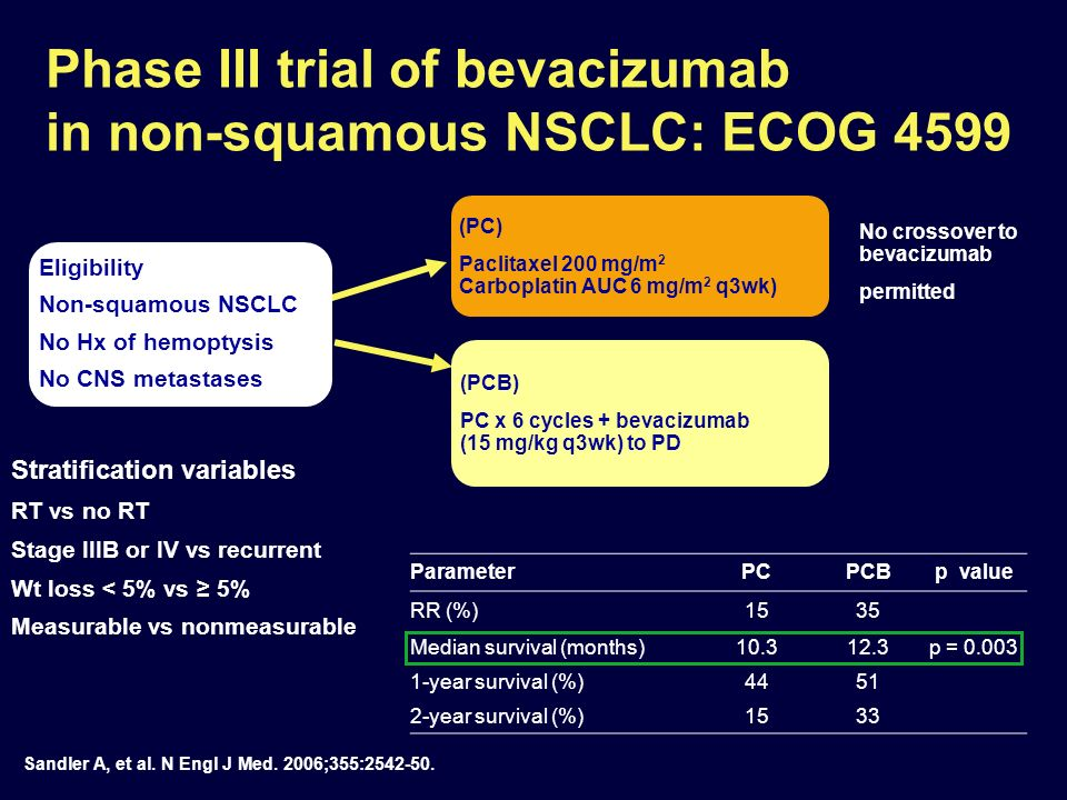 E4599: unprecedented OS benefit in bevacizumab- treated patients with adenocarcinoma histology Bevacizumab-based therapy extends OS to 14.2 months increase of 3.9 months vs CP 31% reduction in the risk of death Duration of survival (months) OS estimate 0612182430364248 10.3 Note: preplanned subgroup analysis in E4599 1.0 0.9 0.8 0.7 0.6 0.5 0.4 0.3 0.2 0.1 0 CP (n=302) Bevacizumab 15mg/kg + CP (n=300) HR (95% CI) 0.69 (0.67–0.92) Median OS (months)10.314.2 Sandler, et al.