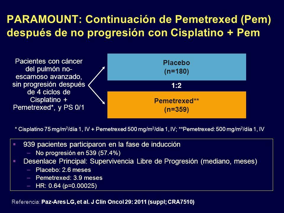 PARAMOUNT: Continuación de Pemetrexed (Pem) después de no progresión con Cisplatino + Pem Referencia: Paz-Ares LG, et al. J Clin Oncol 29: 2011 (suppl