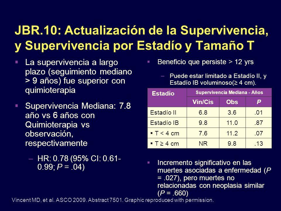 JBR.10: Actualización de la Supervivencia, y Supervivencia por Estadío y Tamaño T La supervivencia a largo plazo (seguimiento mediano > 9 años) fue su