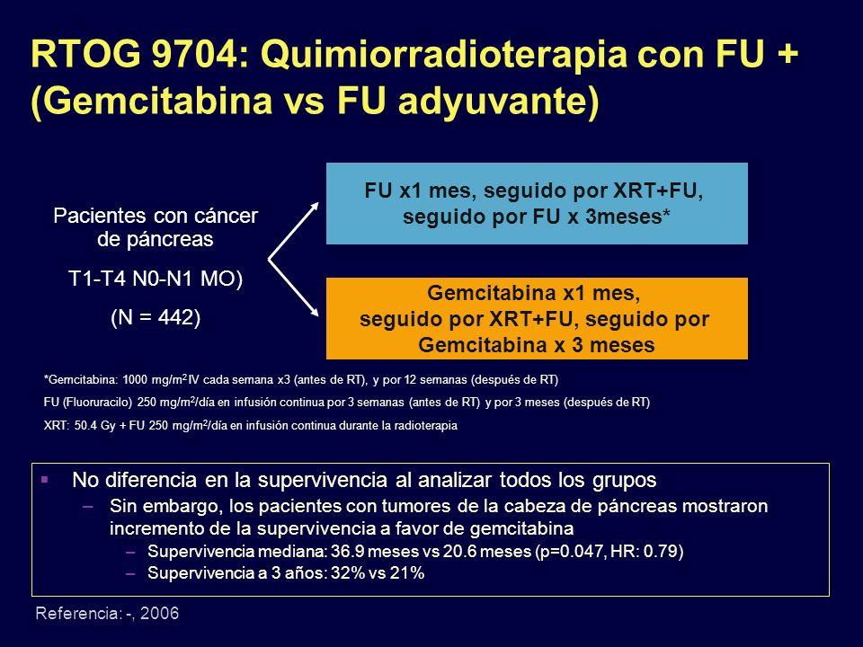 RTOG 9704: Quimiorradioterapia con FU + (Gemcitabina vs FU adyuvante) Referencia: -, 2006 Pacientes con cáncer de páncreas T1-T4 N0-N1 MO) (N = 442) F