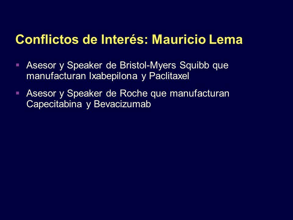 Conflictos de Interés: Mauricio Lema Asesor y Speaker de Bristol-Myers Squibb que manufacturan Ixabepilona y Paclitaxel Asesor y Speaker de Roche que